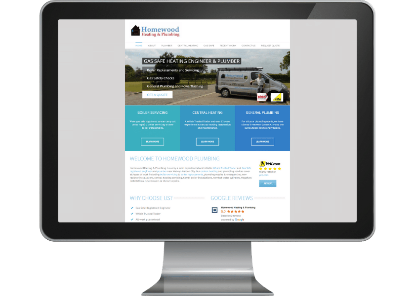 Web design for plumber near Welwyn Garden City