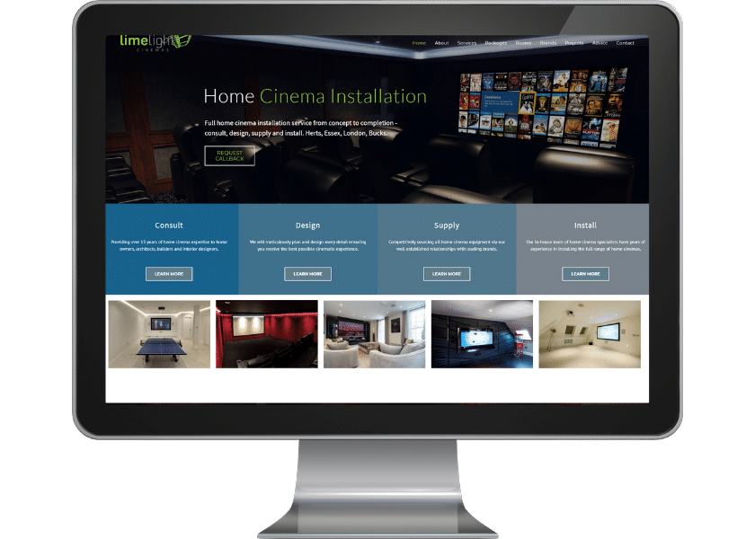Website design for home cinema consultants in Potters Bar