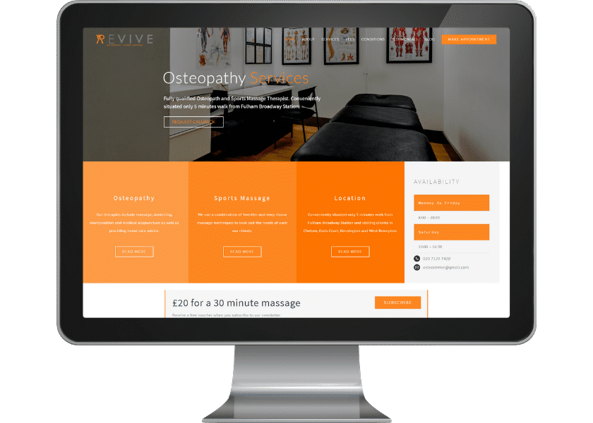 Website design for osteopath in london