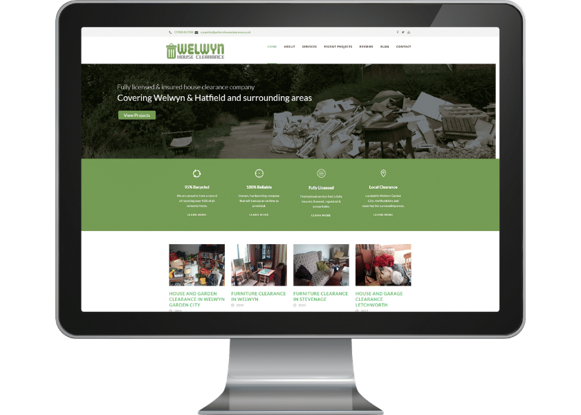 Website for House Clearance company in Welwyn Garden City