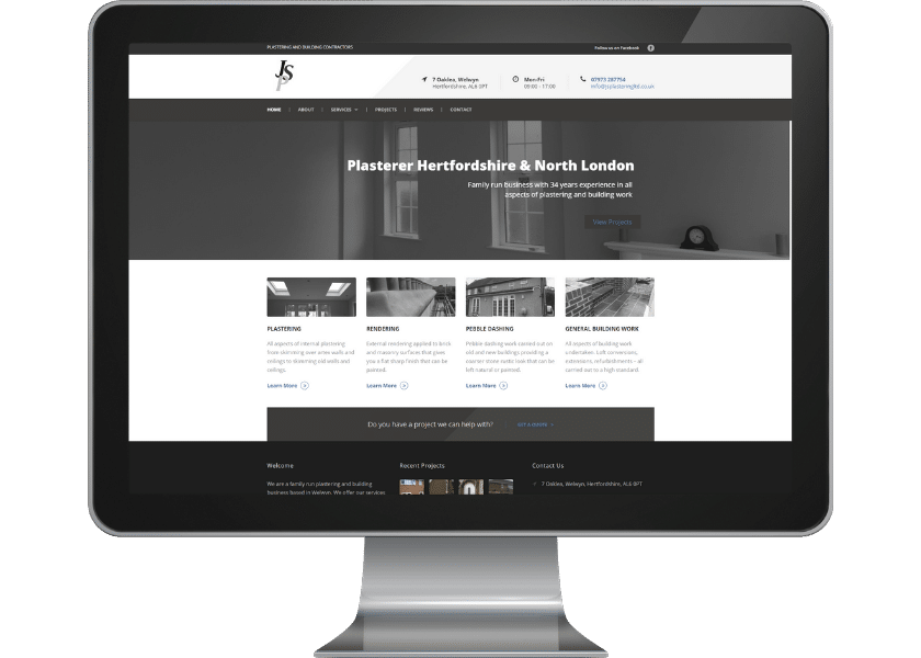 Website for Plasterer in Welwyn, FP Mortimore Web Design