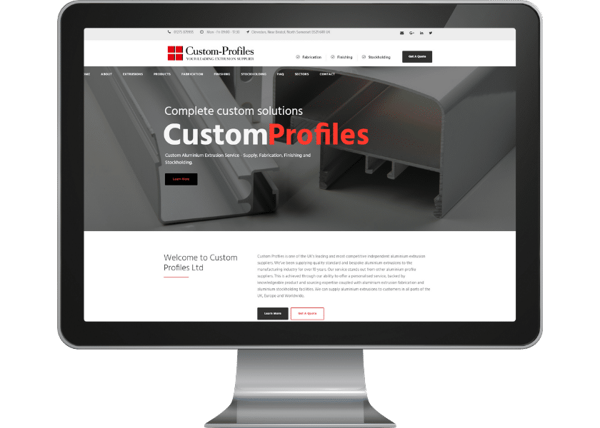 Website for aluminium supplier in Bristol