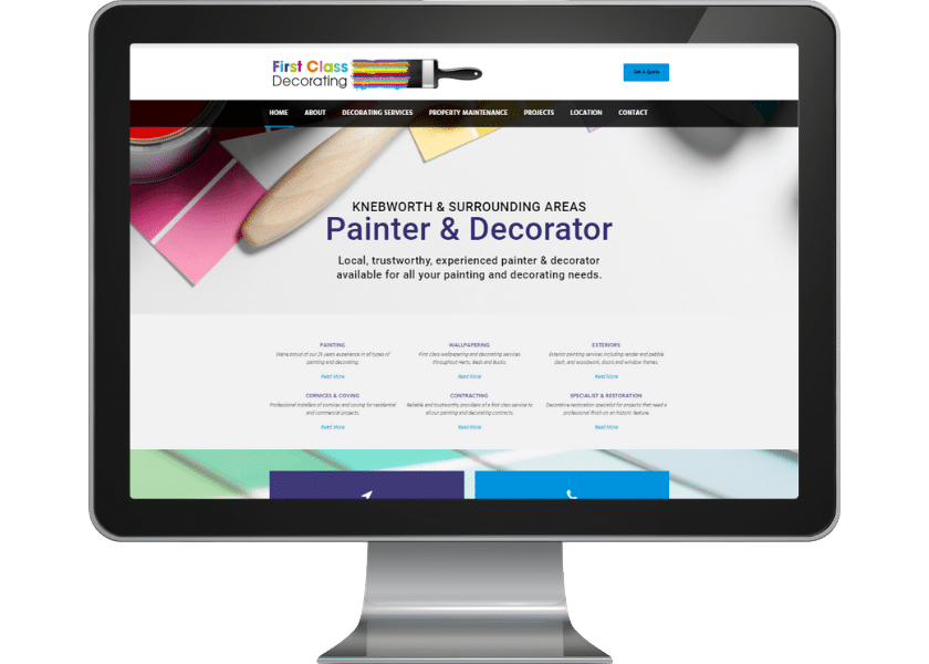 Website for decorator in Knebworth_web design