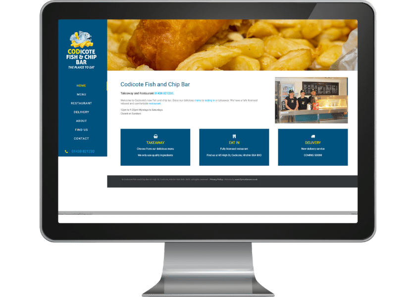Website for fish & chip shop in Codicote_web design