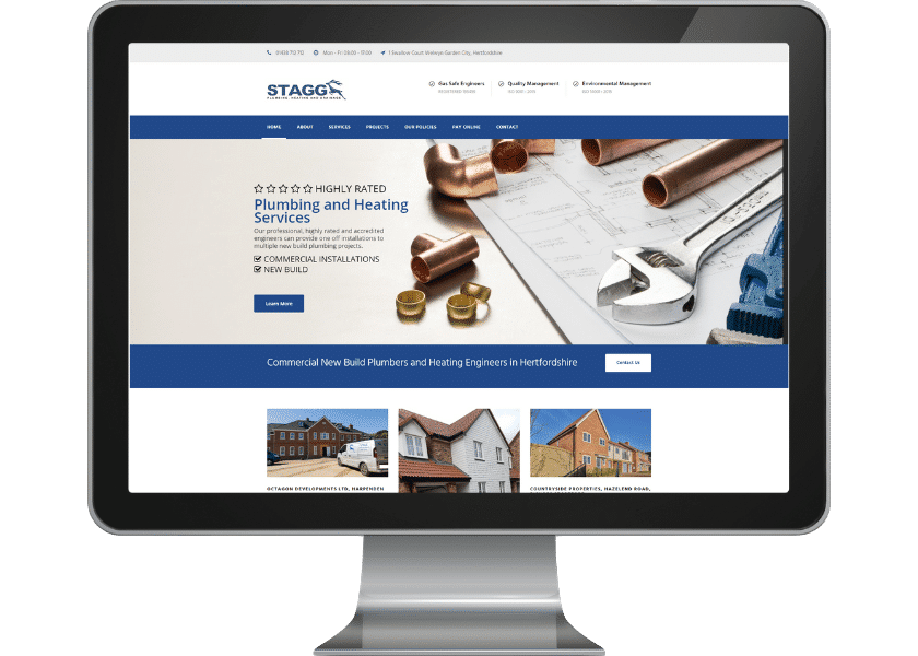 Website for plumbing contractor welwyn garden city_fpmortimore web design